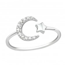 Moon And Star - 925 Sterling Silver Rings with Zirconia stones A4S36880