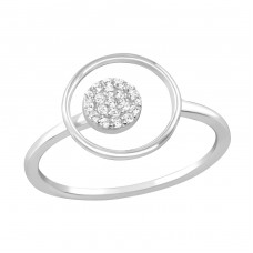 Round - 925 Sterling Silver Rings with Zirconia stones A4S36881