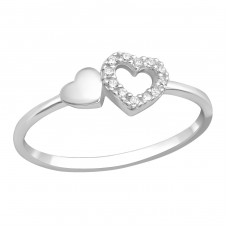 Heart - 925 Sterling Silver Rings with Zirconia stones A4S36883
