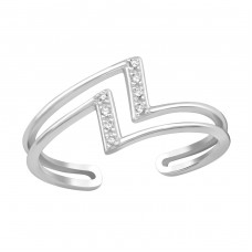 Geometric - 925 Sterling Silver Rings with Zirconia stones A4S36884