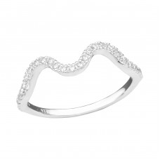Wave - 925 Sterling Silver Rings with Zirconia stones A4S36885