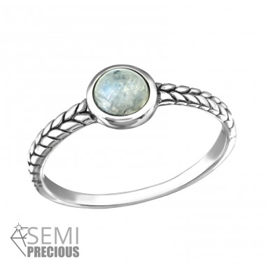 "Oxidized ""Rainbow Moonstone"" - 925 Sterling Silver Rings With Semi-Precious stone A4S37130"