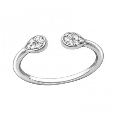 Open Pear - 925 Sterling Silver Rings with Zirconia stones A4S37239