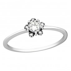 Flower - 925 Sterling Silver Rings with Zirconia stones A4S37295