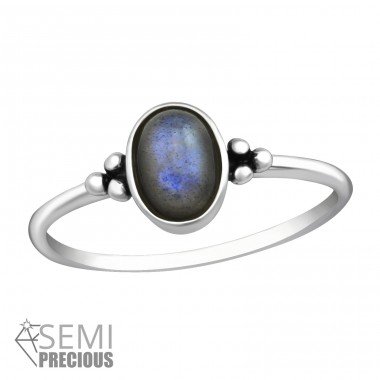"Oval ""Labradorite"" - 925 Sterling Silver Rings With Semi Precious Stones A4S37297"