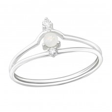 Geometric - 925 Sterling Silver Rings with Zirconia stones A4S37392