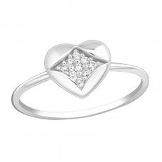 Heart - 925 Sterling Silver Rings with Zirconia stones A4S37399