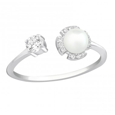 Open - 925 Sterling Silver Rings with Zirconia stones A4S37401
