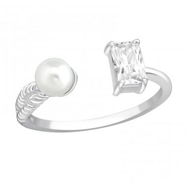 Open - 925 Sterling Silver Rings with Zirconia stones A4S37402