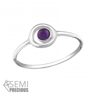 Circle - 925 Sterling Silver Rings with Zirconia stones A4S37504