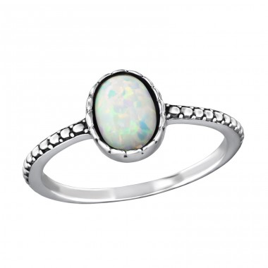 "Oval ""Fire Snow"" Opal - 925 Sterling Silver Rings With Opal Stones A4S37505"