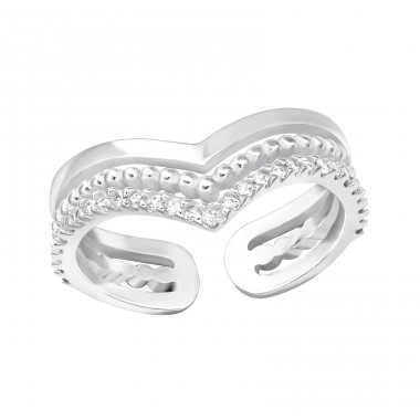 Open - 925 Sterling Silver Rings with Zirconia stones A4S37507
