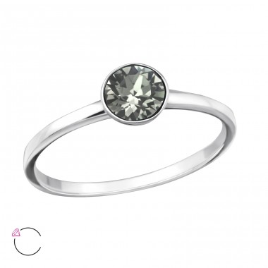 Single Stone - 925 Sterling Silver Rings with Zirconia stones A4S37975