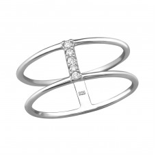Double Line - 925 Sterling Silver Rings with Zirconia stones A4S37983