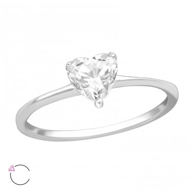 Heart - 925 Sterling Silver Rings with Zirconia stones A4S38313