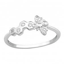 Bee & Honeycomb - 925 Sterling Silver Rings with Zirconia stones A4S38444