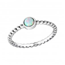 Round - 925 Sterling Silver Rings with Zirconia stones A4S38453