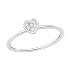 Heart - 925 Sterling Silver Rings with Zirconia stones A4S38455