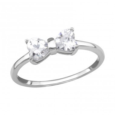 Bow - 925 Sterling Silver Rings with Zirconia stones A4S38526