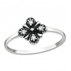Flower - 925 Sterling Silver Rings with Zirconia stones A4S38589