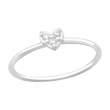 Heart - 925 Sterling Silver Rings with Zirconia stones A4S38859