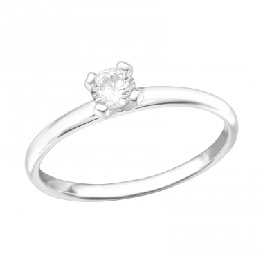 Solitaire - 925 Sterling Silver Rings with Zirconia stones A4S39154
