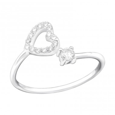 Heart - 925 Sterling Silver Rings with Zirconia stones A4S39371