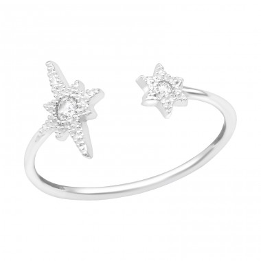 Open Star - 925 Sterling Silver Rings with Zirconia stones A4S39434