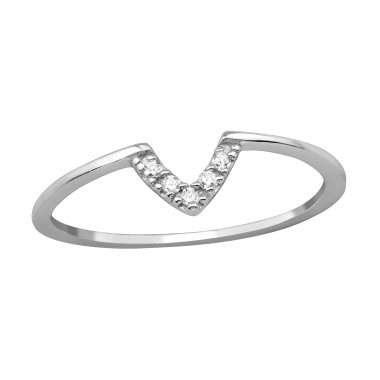 V Shaped - 925 Sterling Silver Rings with Zirconia stones A4S39777