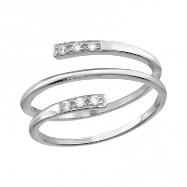 Stackable - 925 Sterling Silver Rings with Zirconia stones A4S39782