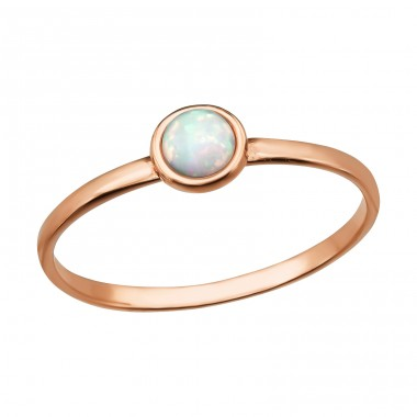 "Round ""Fire Snow"" Opal - 925 Sterling Silver Rings With Opal Stones A4S39783"