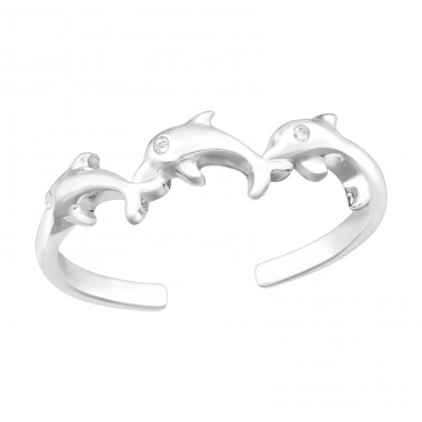 Dolphin - 925 Sterling Silver Rings with Zirconia stones A4S40166