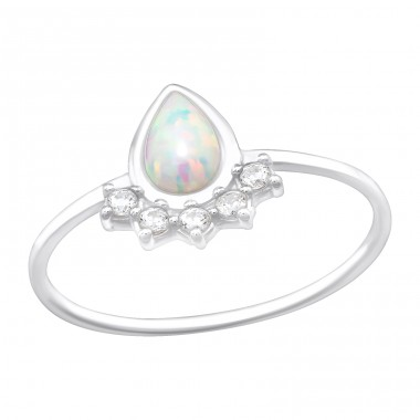 Pear - 925 Sterling Silver Rings with Zirconia stones A4S40223