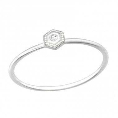 Hexagon - 925 Sterling Silver Rings with Zirconia stones A4S40429
