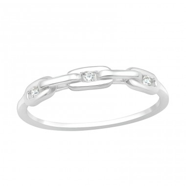 Zirconias inside a chain - 925 Sterling Silver Rings With Zirconia Stones A4S40430