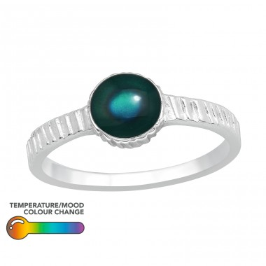 Round - 925 Sterling Silver Basic Rings A4S40433