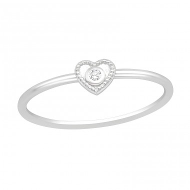 Heart - 925 Sterling Silver Rings with Zirconia stones A4S40609