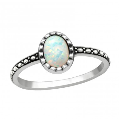 Silver Oval Ring With Fire Snow Opal - 925 Sterling Silver Rings With Zirconia Stones A4S40649