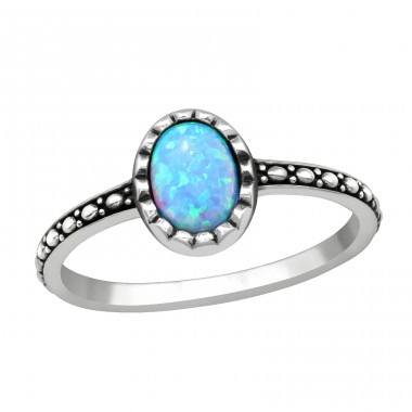 Silver Oval Ring With Azure - 925 Sterling Silver Rings with Zirconia stones A4S40661