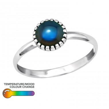 Silver Round Ring With Mood Color Epoxy - 925 Sterling Silver Rings with Zirconia stones A4S40662