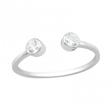 Open ring - 925 Sterling Silver Rings With Zirconia Stones A4S40698