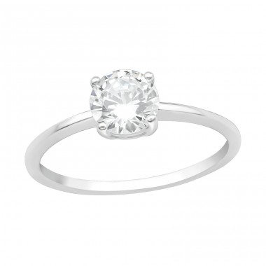 Big round zirconia - 925 Sterling Silver Rings With Zirconia Stones A4S40700