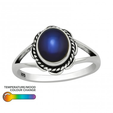 Oval flower - 925 Sterling Silver Basic Rings A4S40755