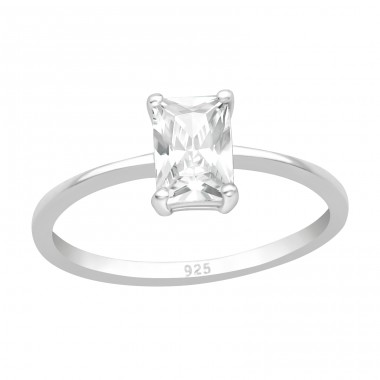 Square - 925 Sterling Silver Rings with Zirconia stones A4S40930