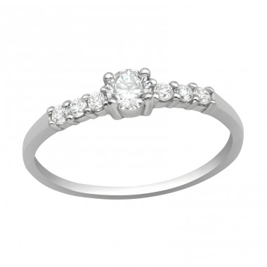 Solitaire - 925 Sterling Silver Rings with Zirconia stones A4S40934