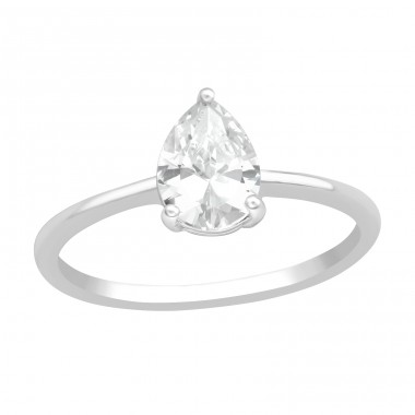 Pear - 925 Sterling Silver Rings with Zirconia stones A4S40938