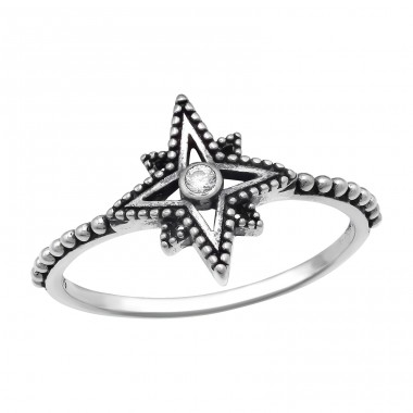 Oxidized Star - 925 Sterling Silver Rings With Zirconia Stones A4S41053