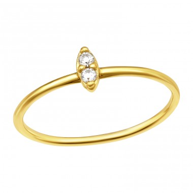 Golden Marquise with 2 stones - 925 Sterling Silver Rings With Zirconia Stones A4S41054