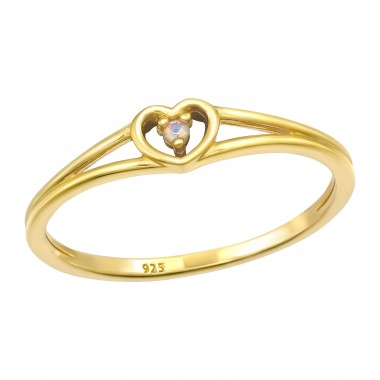 Golden Heart - 925 Sterling Silver Rings With Zirconia Stones A4S41055