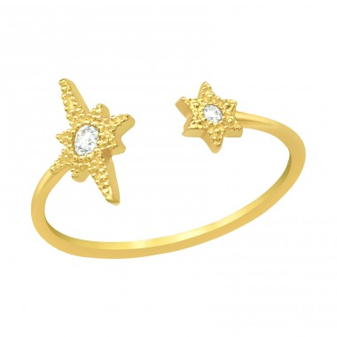 Golden Stars - 925 Sterling Silver Rings With Zirconia Stones A4S41643